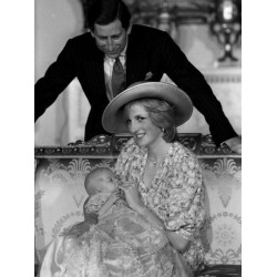 Photographic Print: Prince William Collection 1982 Princess Diana with Prince Charles and Son Prince William in 1982: 24x18in