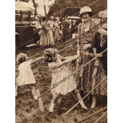 Photographic Print: Princess Elizabeth and Princess Margaret pull their weight, 1930s (1935) : 12x9in