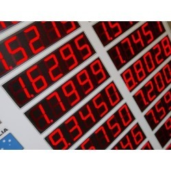 Photographic Print: Red Digital Numbers of Electronic Exchange Rate Board: 24x18in