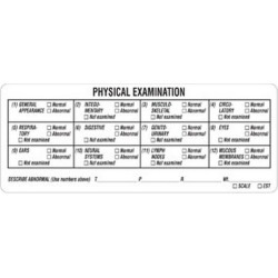 "Physical Examination 4-3/4"" x 1-7/8"" White Label (Roll of 240)"