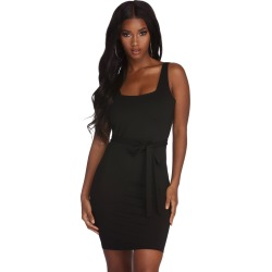 Poised And Cinched Mini Dress