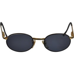 Police Black Lucite With Gilded Gold Hardware & Detailed Etching Sunglasses