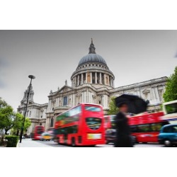 Poster: Bednarek's St Paul's Cathedral in London, the Uk. Red Buses in