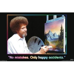 Poster: BOB ROSS - NO MISTAKES. ONLY HAPPY ACCIDENTS, 15x22in.