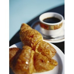 Poster: Johnston's Croissant and Black Coffee on Table, St. Martin, Ca