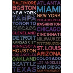 Poster: Major League Baseball Cities Colorful, 36x24in.