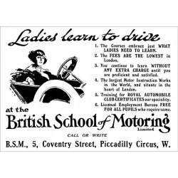 Poster Print. British School of Motoring - ladies learn to drive 1915