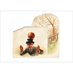 Poster Print. Man hit by football on a greetings card