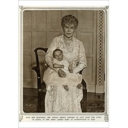 Poster Print. Queen Mary with grandchild Prince Edward