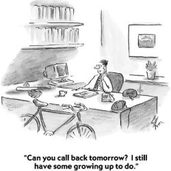 "Premium Giclee Print: ""Can you call back tomorrow? I still have some growing up to do."" - Cartoon by Frank Cotham: 12x12in"