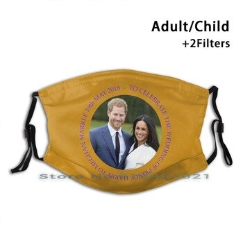 Prince Harry And Meghan Markle Reusable Mouth Face Mask Anti Haze Dustproof Mask With Filters For Child Adult Prince Harry