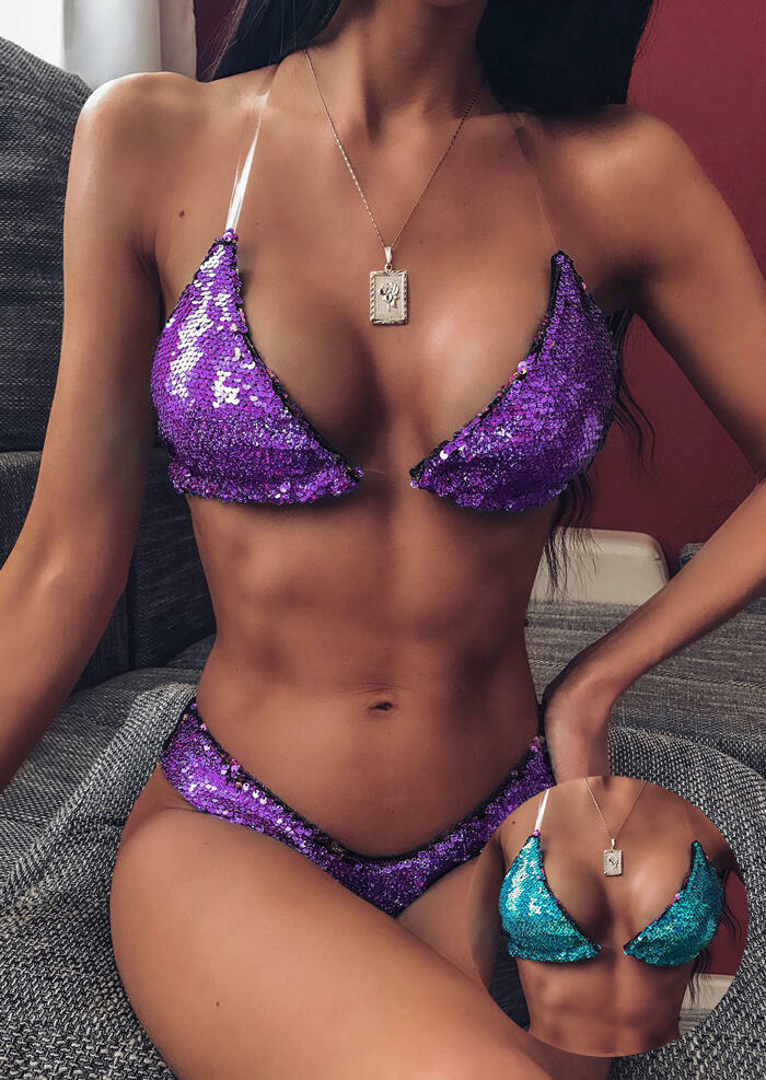 Purple and Blue Color-Changing Sequin Halter Push-Up Triangle Bikini Set in Blue. Size: S,M,L