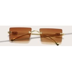 Rectangle Lens Rimless Sunglasses