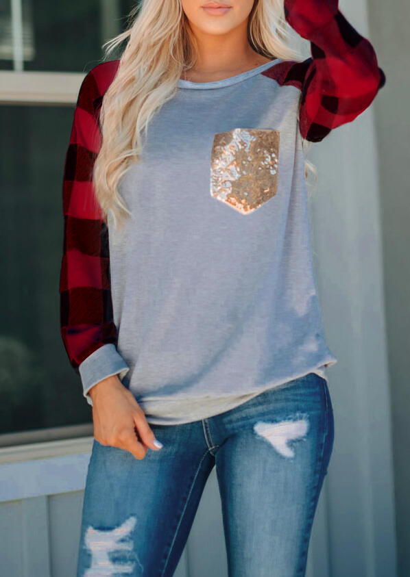 Red Black Plaid Sleeves Splicing Sequined Pocket Long Sleeves T-Shirt in Red. Size: S,M,L,XL,2XL,3XL