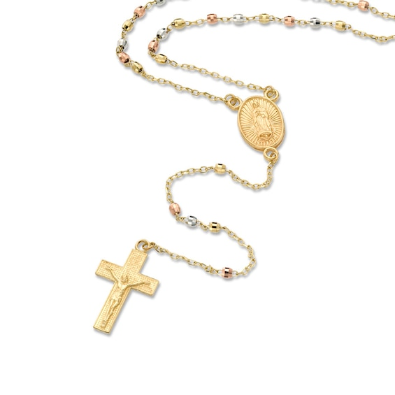 """Rosary Necklace in 10K Tri-Tone Gold - 17"""""""
