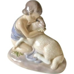 Royal Copenhagen Art Nouveau Figurine Girl With Lamb #2189