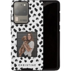 Samsung Galaxy Cases: Black and White Spots Samsung Galaxy Case, Silicone liner case, Matte, Galaxy S20 Ultra, White, Phone Case