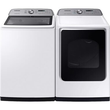 Samsung WA54R7200AW 5.4 CuFt Top Load Washer With Active WaterJet With 7.4 CuFt Electric Dryer With Steam Sanitize+
