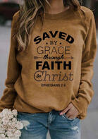 Saved By Grace Through Faith Arrow Sweatshirt - Yellow