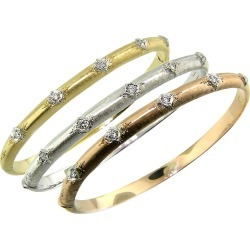 Set Of Three Tri-color Andrea 18 Karat & Diamond Bangles Handmade In Florence It