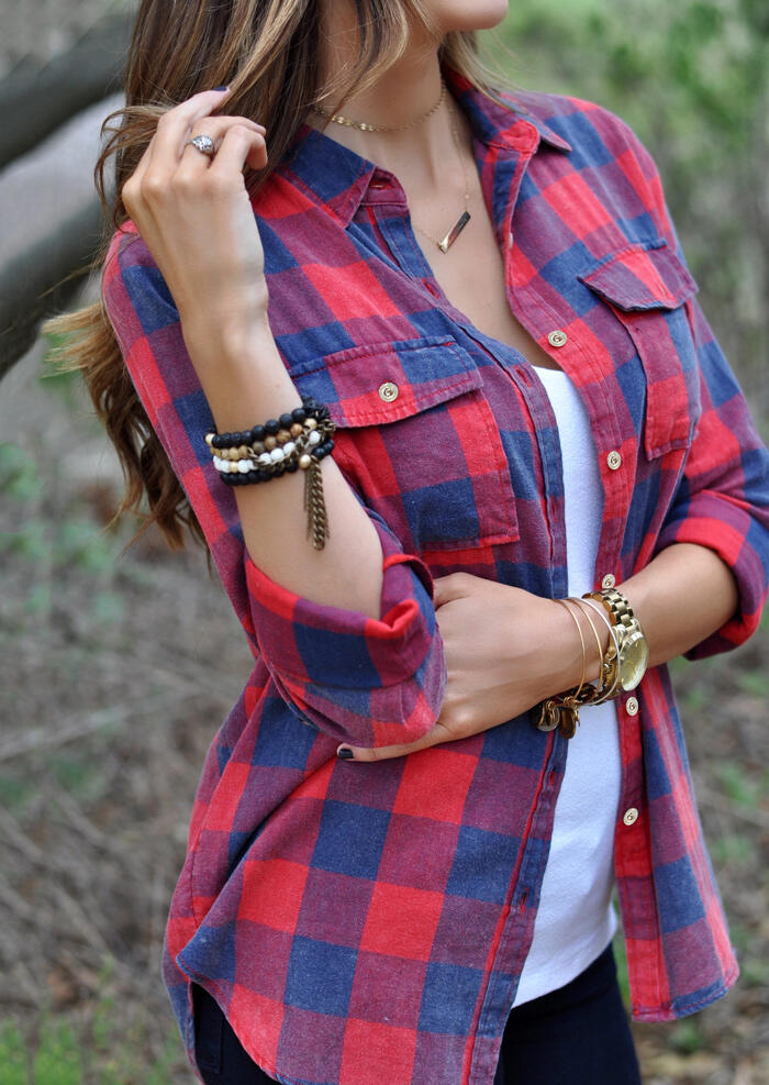 Shirts Plaid Pocket Turn-Down Collar Shirt without Necklace in Plaid. Size: S,M,L,XL