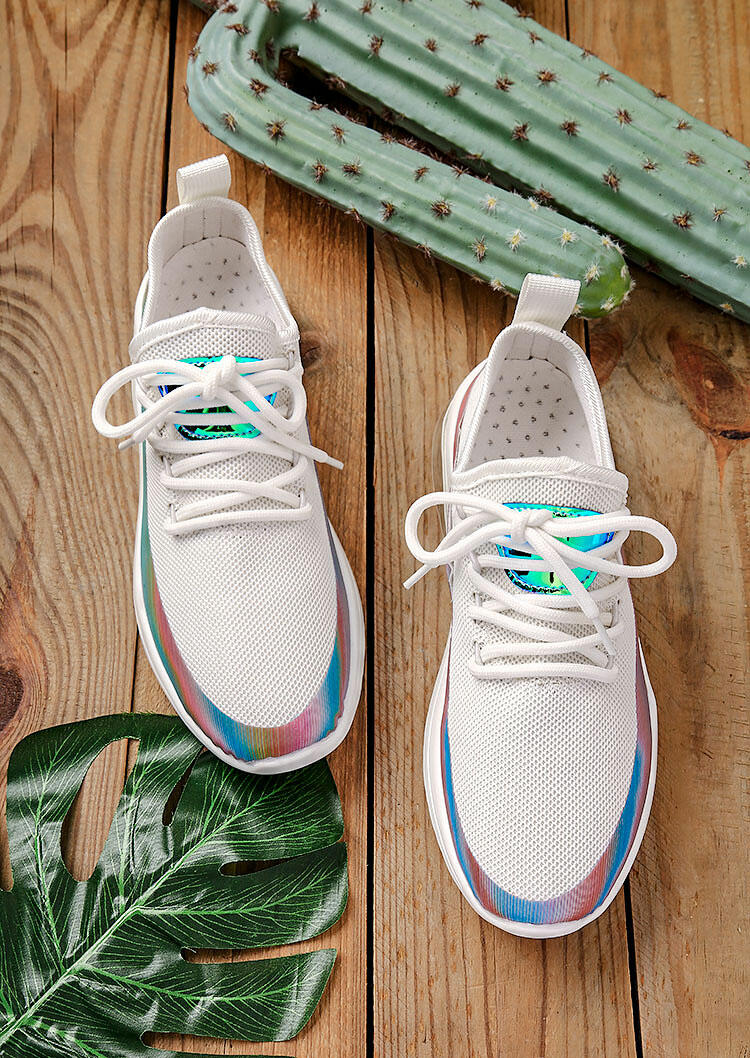Sneakers Colorful Breathable Mesh Round Toe Lace Up Sneakers in White. Size: 37,38,39,40,41