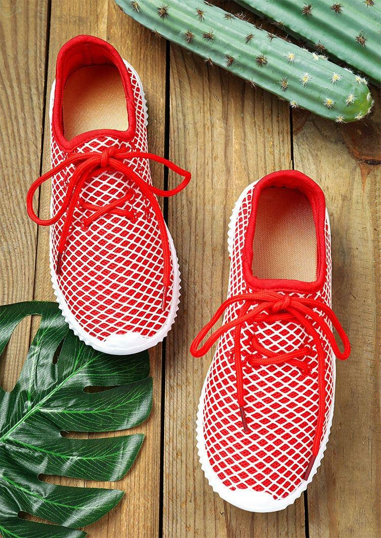 Sneakers Mesh Round Toe Lace Up Sneakers in Red. Size: 37,38,39,40,41