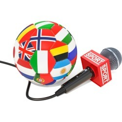 Soccer News Concept Microphone Sport News With Soccer Ball, 3D Rendering Wallpaper Mural by Limitless Walls | Standard Canvas Fa