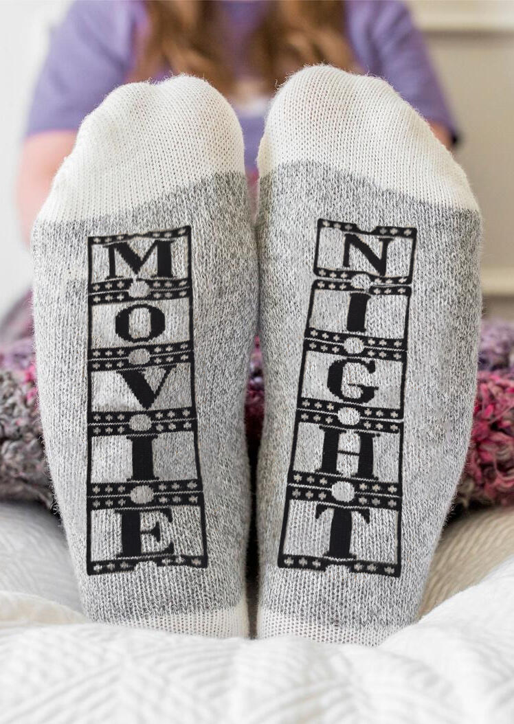 Socks Christmas Movie Night Socks in Gray. Size: One Size