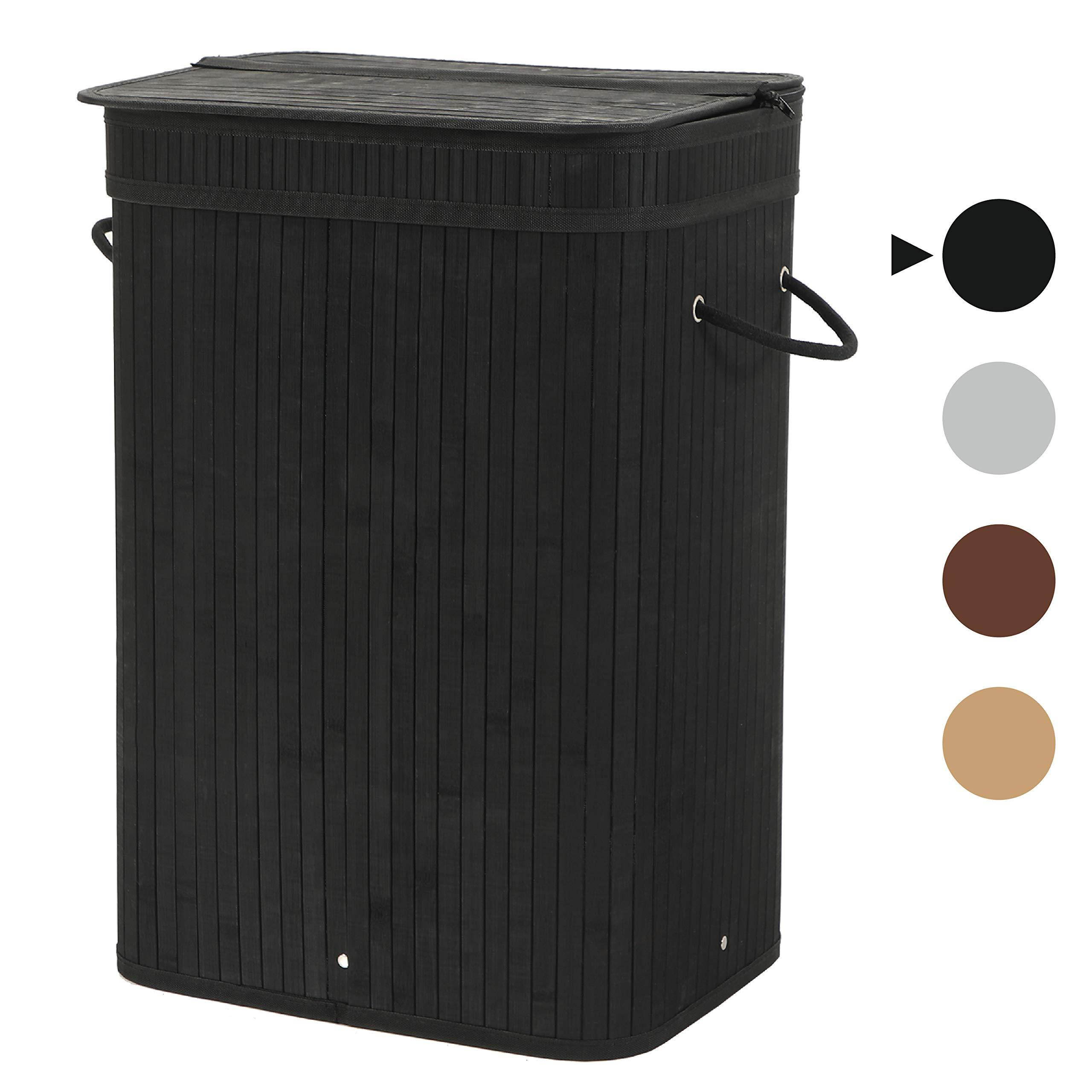 Sophia & William 72L Laundry Hamper Dirty Clothes Bamboo Storage Basket with Lid Liner and Handles Rectangular Black