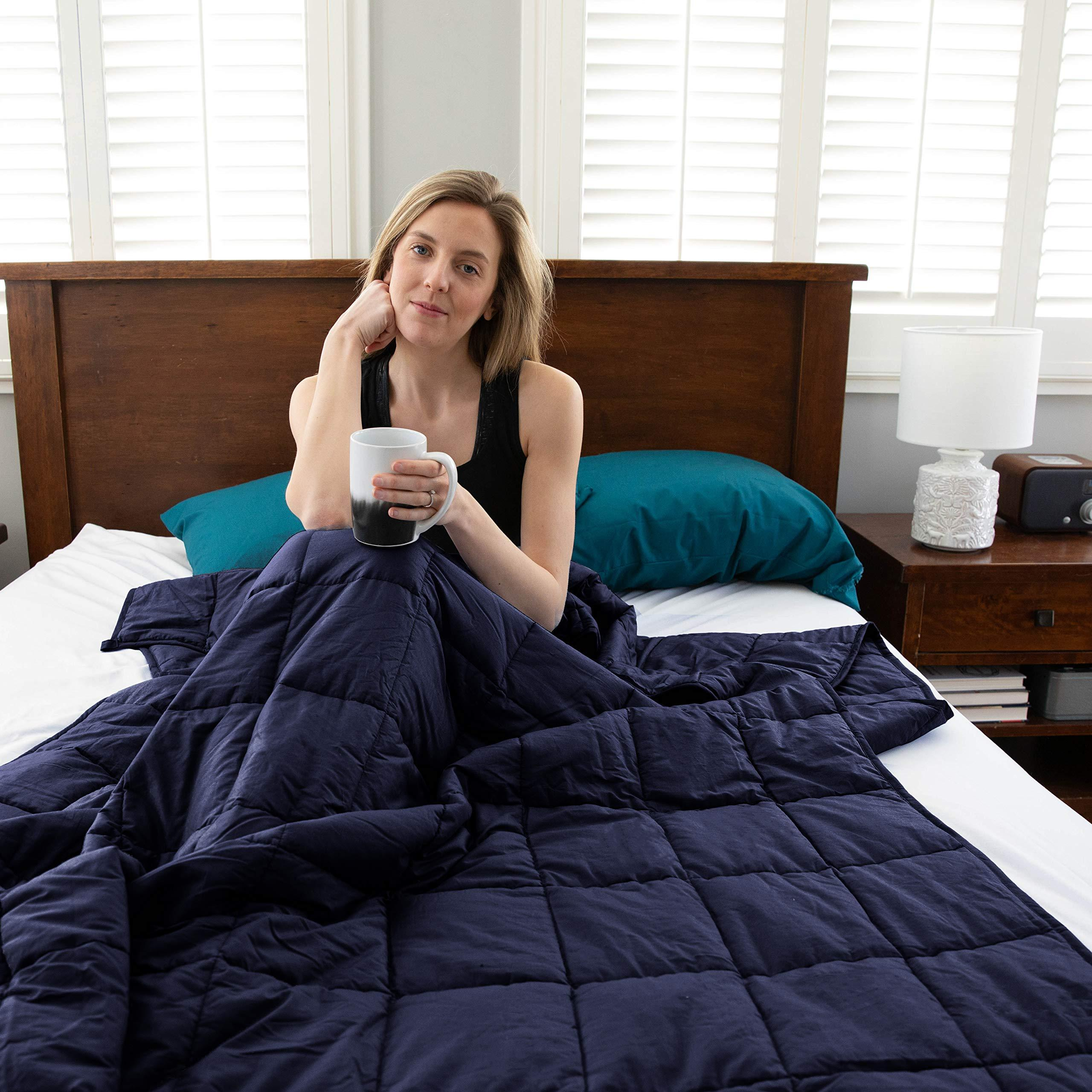 """Sophia & William Cotton Weighted Blanket for Adult/Kids 60""""x80""""-20 lbs / Navy"""