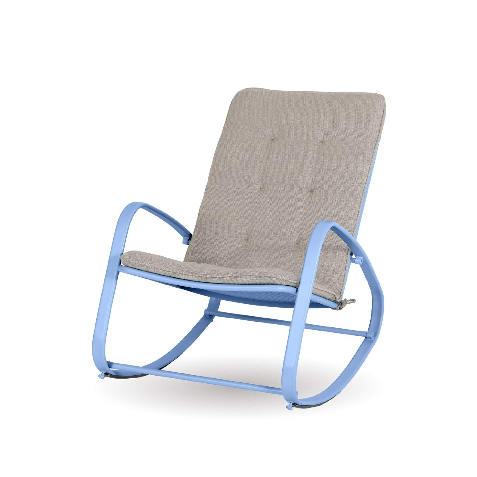 Sophia & William Outdoor Patio Rocking Chair Padded Steel Rocker Chairs Support 300lbs Blue