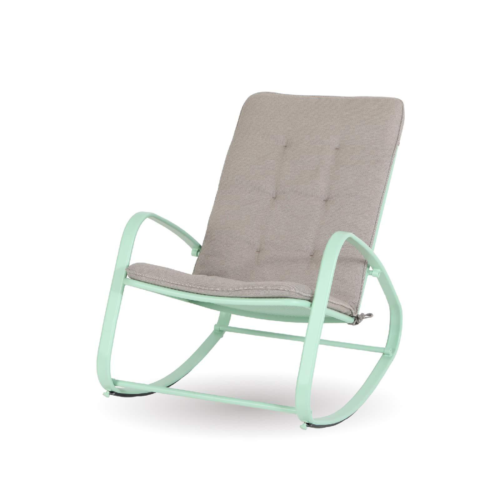 Sophia & William Outdoor Patio Rocking Chair Padded Steel Rocker Chairs Support 300lbs Green
