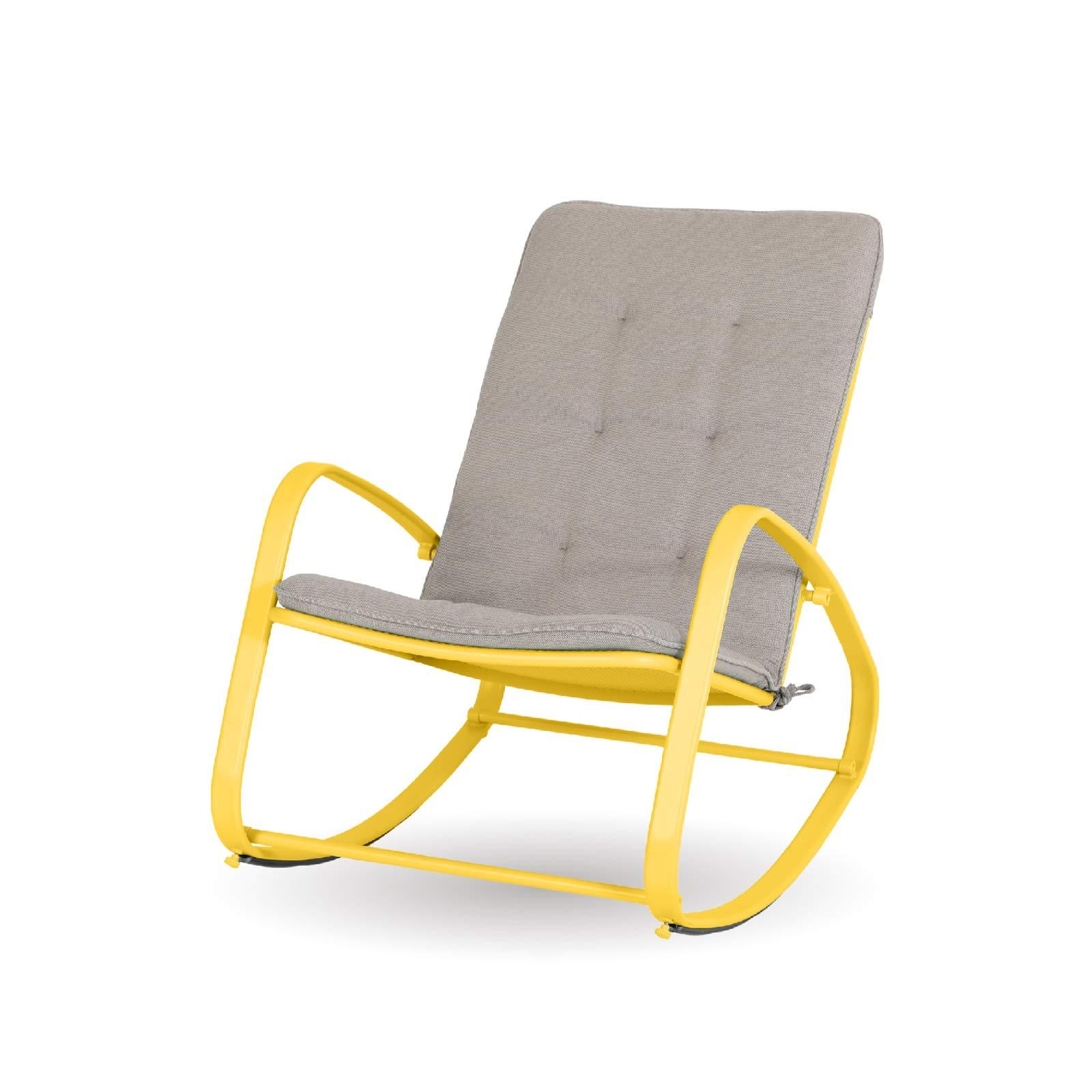 Sophia & William Outdoor Patio Rocking Chair Padded Steel Rocker Chairs Support 300lbs Yellow