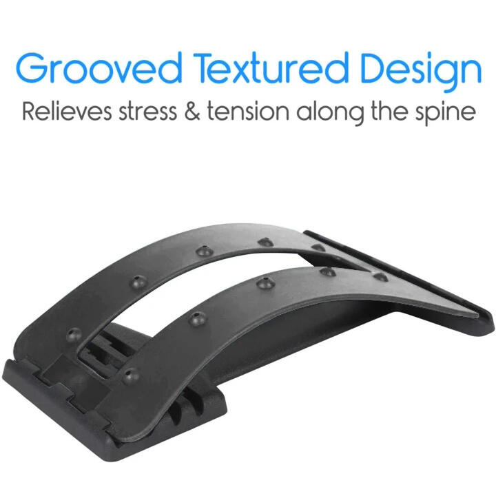 Sport Product Lumbar Back Massage Stretching Traction Device in Black. Size: One Size