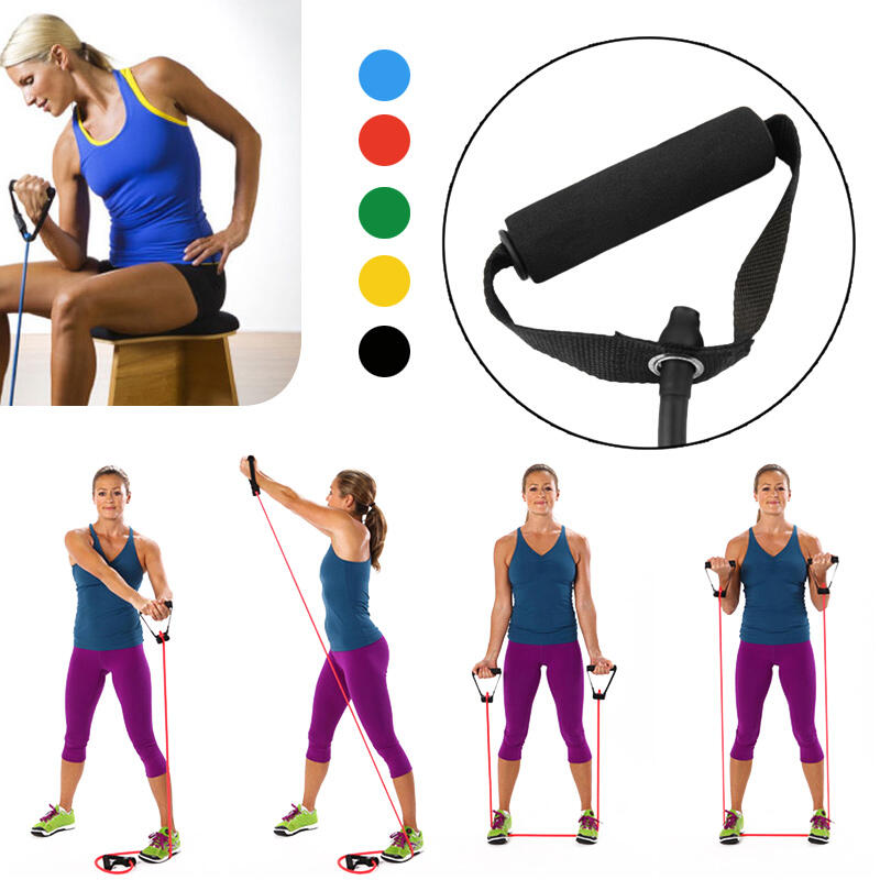Sport Product Portable Pilates Yoga Resistance Band in Black,Blue,Red. Size: One Size