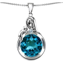 Star K� Loving Mother With Child Family Large Pendant Necklace With Round 10mm Simulated Blue Topaz