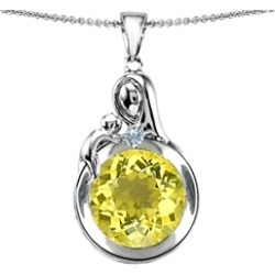 Star K� Loving Mother With Child Family Large Pendant Necklace With Round 10mm Simulated Yellow Sapphire