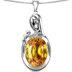 Star K� Loving Mother With Child Family Pendant Necklace With Oval 11x9mm Simulated Citrine