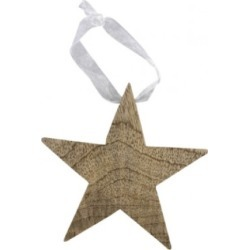 Star wood star decorations (set of 5)