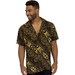STATUS GOLD PRINT BUTTON DOWN SHIRT