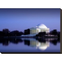 Stretched Canvas Print: Jefferson Memorial, Washington, D.C. Number 2 - Vintage Style Photo Tint Variant by Carol Highsmith: 12x16in