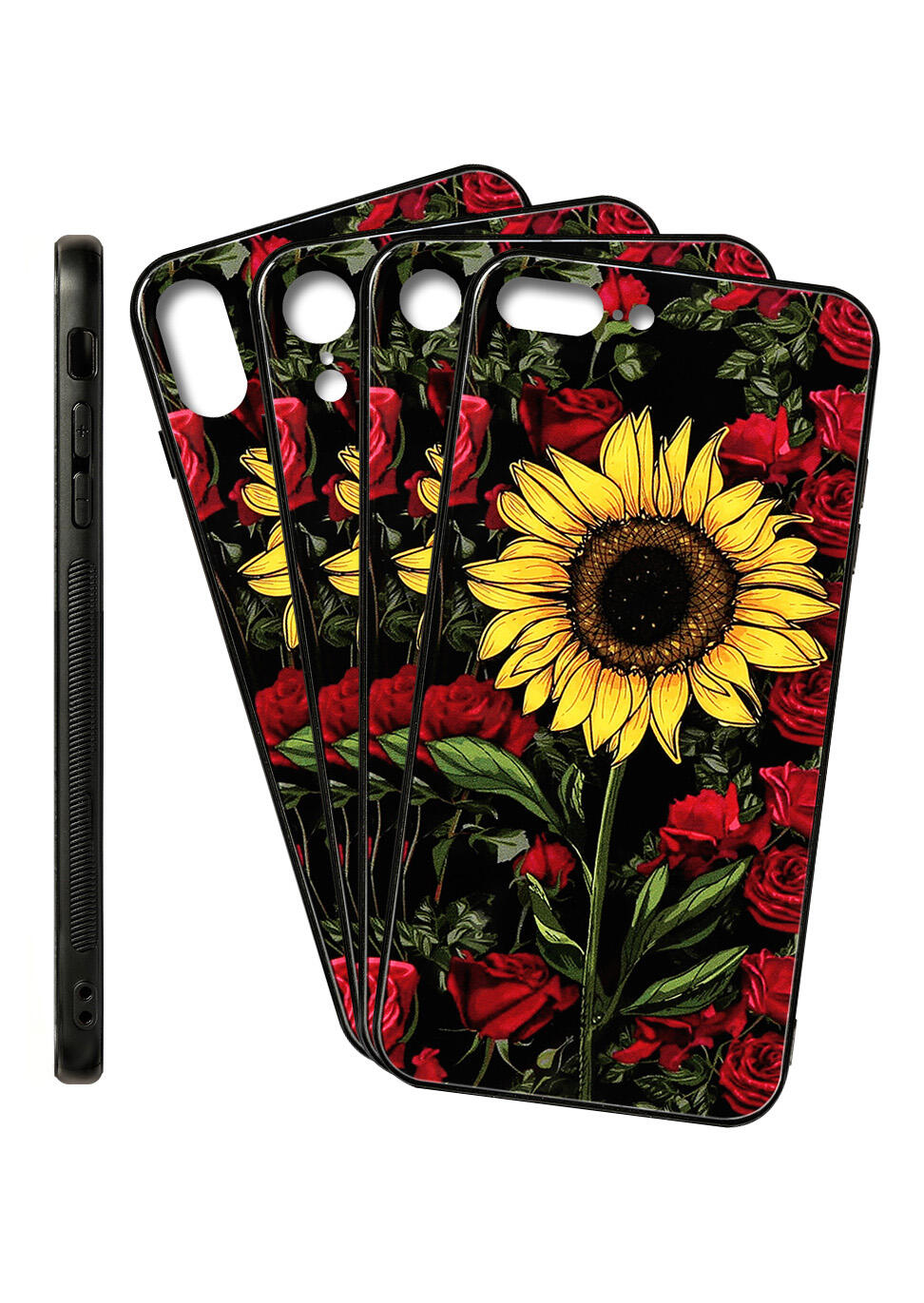 Sunflower and Rose Iphone XR / Iphone XS Max / Iphone 8 / Iphone 8 Silicone Protective Phone Case in Multicolor. Size: iPhone XS Max