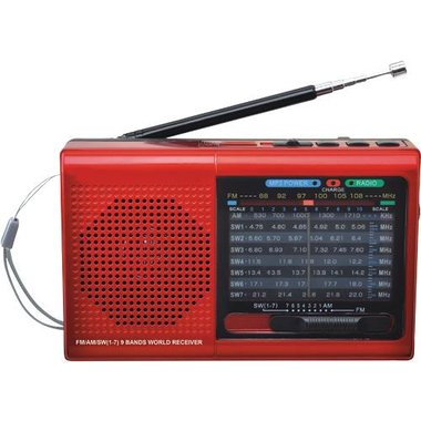 SuperSonic SC1080BTRED 9 Band Radio With Bluetooth