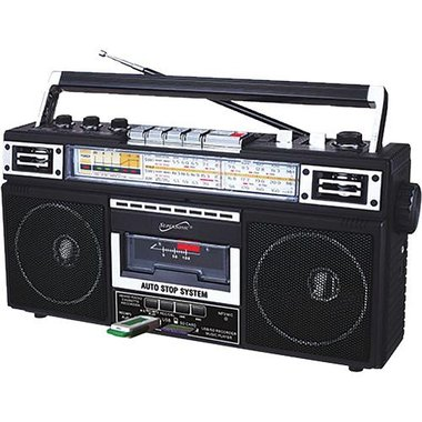 SuperSonic SC3201BTBLK 4 Band Radio And Cassette Player Plus Cassette Mp3 Converter And Bluetooth
