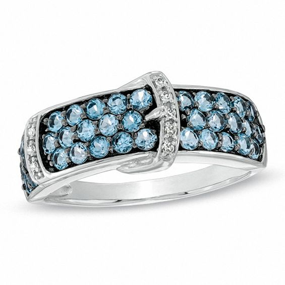 Swiss Blue Topaz and Diamond Accent Buckle Ring in 10K White Gold