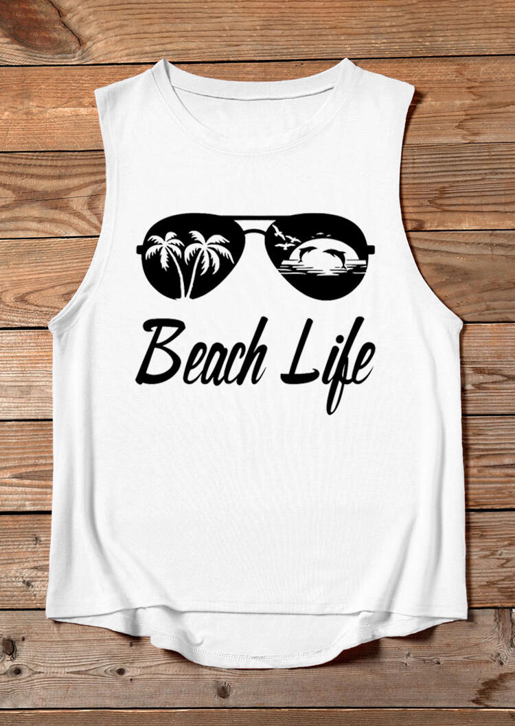 Tank Tops Beach Life Sunglasses Tank without Necklace in White. Size: L