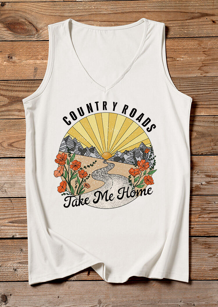 Tank Tops Country Roads Take Me Home Floral Tank in White. Size: S,M,L,XL