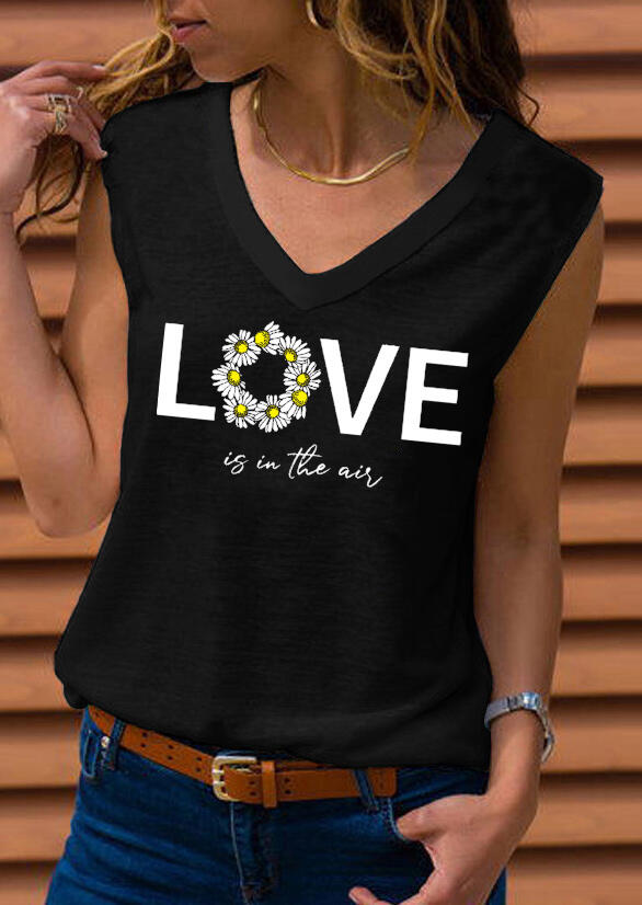 Tank Tops Daisy Floral Love Is In The Air Tank without Necklace in Black. Size: S,M,L,XL