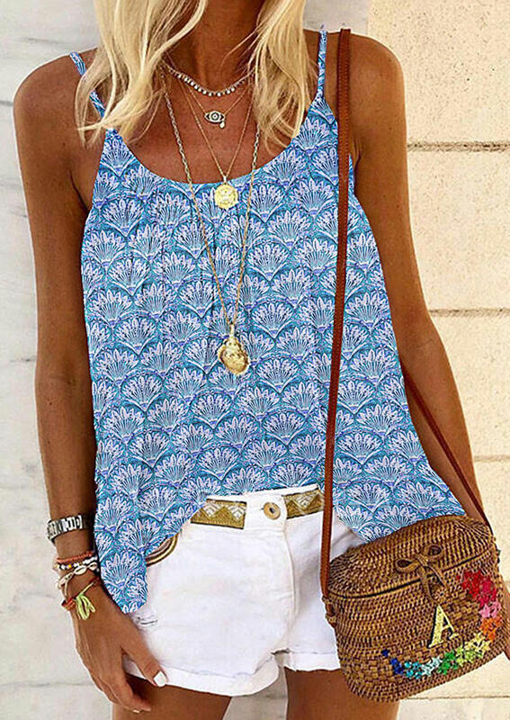 Tank Tops Floral Casual Camisole without Necklace in Sky Blue. Size: S,M,L,XL